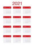 2021 Calendar Clean Minimal Simple Vector Design. Week Starts on Monday. stock illustration