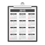 2015 Calendar. On a clipboard stock illustration