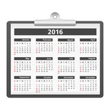 2016 Calendar. On a clipboard Royalty Free Stock Image