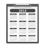 2014 Calendar. Clipboard with 2014 calendar on white backgronud Royalty Free Stock Images
