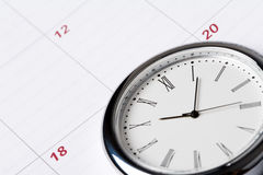 Calendar and clock Stock Images