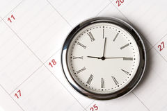 Calendar and clock. Close up shot Royalty Free Stock Image