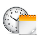 Calendar and clock. Big clock and calendar with blank page Stock Image