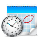 Calendar and clock. Royalty Free Stock Images