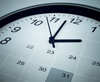 Calendar and clock face. Time manager and agenda. Time manager and agenda concept Stock Photography