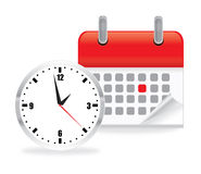 Calendar clock icon. Vector illustration of calendar clock icon on white background Royalty Free Stock Images