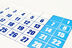 Calendar. Close-up photo of the calendar page on the white background royalty free stock photography