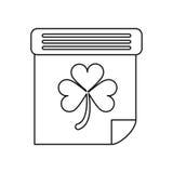 Calendar clover st patrick day irish culture outline Royalty Free Stock Photos