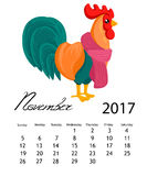 Calendar 2017 cock. Colorful rooster - the symbol of the Chinese New year. Stock Photos