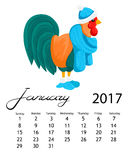 Calendar 2017 cock. Colorful rooster - the symbol of the Chinese New year. Royalty Free Stock Images