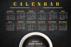 Calendar 2016 with coffee background. Calendar and happy new year 2016 Royalty Free Stock Photo