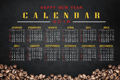 Calendar 2016 with coffee background. Calendar and happy new year 2016 Royalty Free Stock Photography