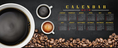 Calendar 2016 with coffee background. Calendar and happy new year 2016 Stock Image