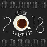 Calendar 2018 with Coffee Royalty Free Stock Photography
