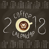 Calendar 2018 with Coffee Royalty Free Stock Image