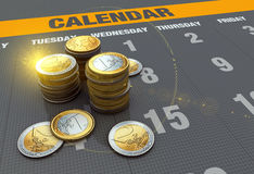 Calendar with coins. Financial business chart and coins Royalty Free Stock Photos