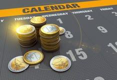 Calendar with coins Royalty Free Stock Photos