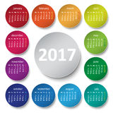 2017 calendar. Color circles. Design Stock Photos