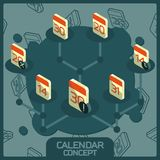 Calendar color concept isometric icons. Vector illustration, EPS 10 vector illustration