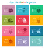 Calendar 2014 in color. Cute doodle calendar for 2014. Week starts from Sunday vector illustration