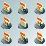 Calendar color isometric icons. Vector illustration, EPS 10 Vector Illustration