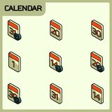 Calendar color outline isometric icons. Vector illustration, EPS 10 stock illustration