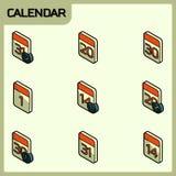 Calendar color outline isometric icons. Vector illustration, EPS 10 Stock Illustration