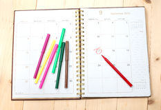 Calendar and color pen Royalty Free Stock Photography