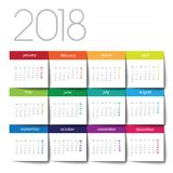 2018 calendar. Color post it Royalty Free Stock Image