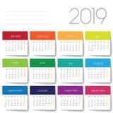 2019 calendar. Color post it stock images