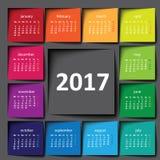 2017 calendar. Color post it. Squares Stock Image