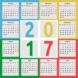 Calendar 2017, color seasons. Calendar for 2017 year with seasons on color background. Week starts on Monday. Flat design. Vector illustration. EPS 8, no Stock Image