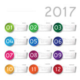 2017 calendar. With color stickers Royalty Free Stock Photography