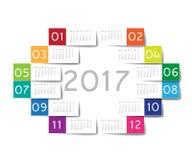 2017 calendar. Color stickers design Stock Photos