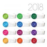 2018 calendar. With color tabs Royalty Free Stock Photography