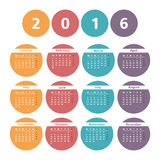 2016 Calendar. In colored circles Stock Image