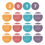 2017 Calendar. In colored circles Royalty Free Stock Photos