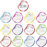 Calendar with colored stickers Royalty Free Stock Images