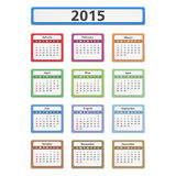 2015 Calendar. 2015 colored calendar on white background Stock Image