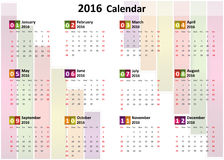 2016 Calendar. Colorful Abstract Block , Vector Illustration Stock Photo