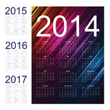 Calendar 2014. Calendar for 2014 on the colorful background Stock Image