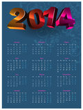 Calendar 2014. Colorful calendar on blue background with volume figures stock illustration