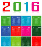 Calendar 2016. Colorful calenda 2016 ,isolate on white Stock Image