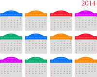 Calendar 2014. A colorful calender of 2014 starting from Sunday and with high quality fonts and looks. Suitable for any size prints with vector files too Royalty Free Stock Images