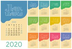 Calendar 2020. Colorful calender. Vector hand drawn design. Doodle English lettering collection. Hearts vector illustration