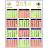 Calendar 2014. Colorful calender for the year 2014 Royalty Free Stock Photo