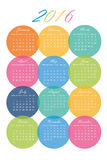 Calendar of 2016 in colorful circles. New Year 2016 Calendar in colorful circles - EPS Vector Template Royalty Free Stock Photo