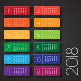 Calendar 2018. Colorful design. With text box Stock Photos