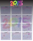 2015 calendar. 2015 colorful detailed business calendar vector illustration