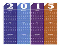 2015 calendar. Colorful 2015 calendar, EPS 10 stock photos
